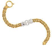 14K Gold 6-3/4 Two-Tone Panther Head Byzantine Bracelet, 9.7g - J318493
