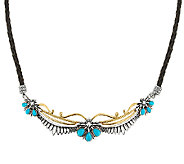 Sterling/Brass Turquoise & Leather Necklace by American West - J319293