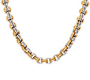 Stainless Steel Two-Tone Textured Link 18 Necklace - J319693