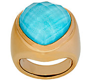 14K Gold Sleeping Beauty Turquoise Doublet Heart Ring - J321193