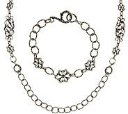 Carolyn Pollack Sterling Silver Necklace & Bracelet Set, 40.0g - J322793