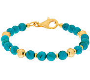 Veronese 18K Clad Turquoise Bead Station Bracelet - J324093