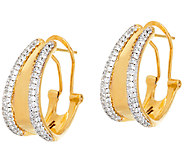 Bronze Pave Crystal Omega Back Hoop Earrings by Bronzo Italia - J325093