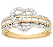 Baguette Diamond Heart Band Ring, 14K, 1/3 cttw, by Affinity - J328193