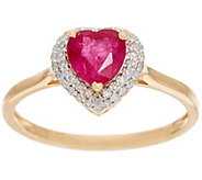 Heart Cut Mozambique Ruby & Diamond Ring, 14K Gold 0.80 ct - J329093