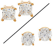 Princess or Round Diamond Stud Earrings, 14K, 1.00 cttw, by Affinity - J329593