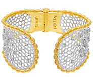 Genesi 18K Clad White Topaz Graduated Hinged Cuff Bracelet, 42.3g - J330193