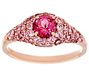 Pink Tourmaline Pave Band Ring 14K Gold 1.50 cttw - J330993