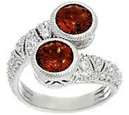 Judith Ripka Sterling Silver Madeira Citrine & Diamonique Estate Ring - J331293