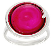 As Is Kalos by Hagit Sterling Silver Pink Glass Ring - J332893