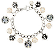 As Is Or Paz Cultured Pearl & Roman Glass Sterling Charm Bracelet - J333493