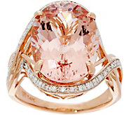 Oval Morganite & Diamond Bold Cocktail Ring, 14K Gold 7.30 ct - J333693