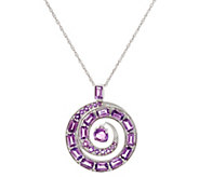 Baguette & Round Dancing Amethyst Enhancer on Chain, 4.20cttw - J335893