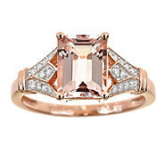 1.65 cttw Morganite & Diamond Shank Ring, Sterling 14K Rose - J337393