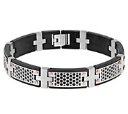 Stainless Steel Cutout Black Ion-Plated Bracelet - J337893