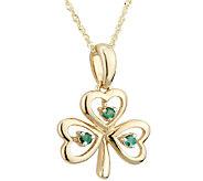 Solvar Emerald Shamrock Knot Pendant with Chain, 14K Gold - J337993