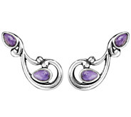 Carolyn Pollack Sterling Gemstone Ear Climber Earrings - J338993