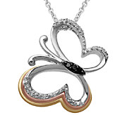 Diamond Butterfly Pendant, 1/10 cttw, Sterling,by Affinity - J339393