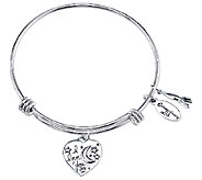 Sterling Expandable Love Charm Bangle by Extraordinary Life - J340593