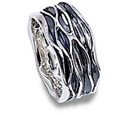 Hagit Sterling Silver Textured Band Ring - J340693