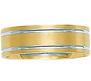 14K Yellow Gold Two-Tone Comfort Fit SatinWedding Band - J341293