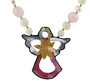 Lee Sands Bead & Cultured Pearl Necklace w/CutOut Angel Inlay - J342893