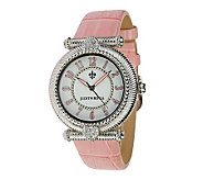 Judith Ripka Stainless Steel Leather Watch - J343093