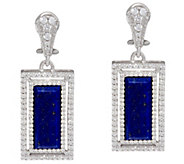 Judith Ripka Sterling Lapis  & Diamonique Earrings - J343793