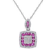 0.80 cttw Ruby & 1/3 cttw Diamond Pendant w/ Chain, 14K - J344093