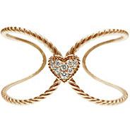 Judith Ripka 14K Rose Gold-Clad Openwork HeartCuff - J345793