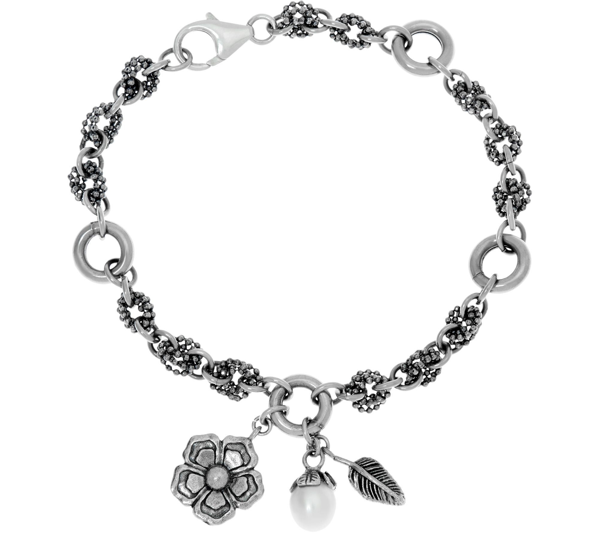 Sterling Silver Cultured Pearl Charm Bracelet By Or Paz  J346193
