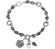 Sterling Silver Cultured Pearl Charm Bracelet by Or Paz - J346193