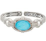 Judith Ripka Sterling Turquoise Doublet Cuff Bracelet - J347893