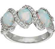 Diamonique and Synthetic Opal Band Ring, Sterling - J348593