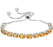 Oval Gemstone Sterling Adjustable Bracelet, 4.50 cttw - J349793