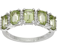 Emerald Cut 5-Stone Peridot Sterling Silver Band Ring 2.50 cttw - J350093