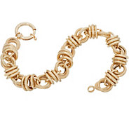 14K Gold 7-1/4 Textured Status Link Bracelet, 14.3g - J350893