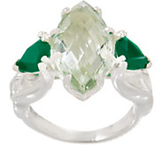 JMH Jewellery Sterling Silver Green Quartz and Green Onyx Ring - J352693
