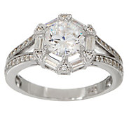 Diamonique Round and Baguette Design Ring Sterling - J354293