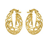 14K Gold Swirl Cut-out Hoop Earrings - J374793