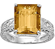 14K Emerald Cut Gemstone & Diamond Accent Ring - J374993