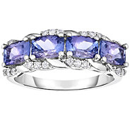 Sterling 2.25 cttw Tanzanite & White Zircon Band Ring - J375193