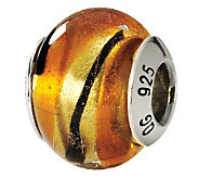 Prerogatives Sterling Yellow & Black Italian Murano Glass Bead - J111794