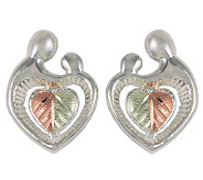 Black Hills Mother and Child Heart Earrings, St erling/12K Gol - J113794