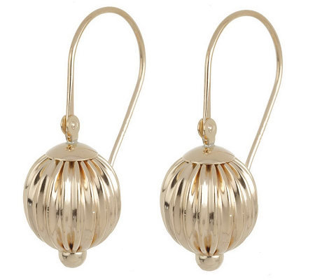 EternaGold Fluted Bead w/Hinged Secura Clasp Earrings 14k Gold