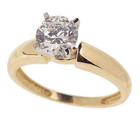 Diamonique 1 Ct Round Solitaire Ring 14k Gold J18094