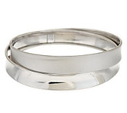 Italian Silver Large Cross-Over Design Bangle Sterling, 22.0g - J275394