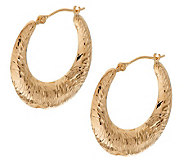 Engraved Swirl Pattern Graduated Hoop Earrings 14K Gold - J276494