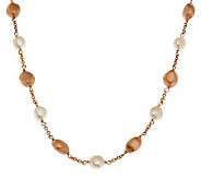 Honora Cultured Pearl 18 7.0mm Baroque Bronze Nugget Station Necklace - J283594
