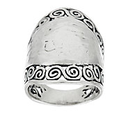 Sterling Silver Hammered & Scroll Design Ring by Or Paz - J290194